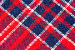 Tekstura czerwony i błękitny w kratkę woolen tkanina Obraz Stock