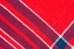 Tekstura czerwony i błękitny w kratkę woolen tkanina Fotografia Stock