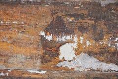 Tekstura drewniana powierzchnia z strugać brown farbę retro Obraz Stock