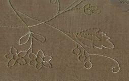 Tekstura jedwabnicza tkanina z dużych rozmiarów visitim nici wzorem kwiecisty ornament Wiktoriański styl Północna sztuka Nouvea Zdjęcia Stock
