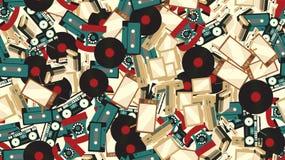 Tekstura jest bezszwowym wzorem starego rocznika elektronika retro technologia od 70 s `, 80 s `, 90 s ` royalty ilustracja