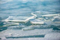 Tekstura lód powierzchnia, krakingowy lodowy unosić się Fotografia Stock
