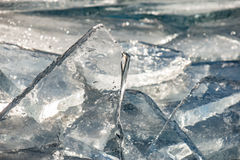Tekstura lód powierzchnia, krakingowy lodowy unosić się Fotografia Royalty Free