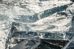 Tekstura lód powierzchnia, krakingowy lodowy unosić się Obraz Stock