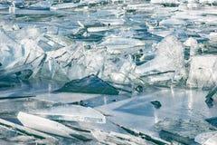 Tekstura lód powierzchnia, krakingowy lodowy unosić się Zdjęcie Stock