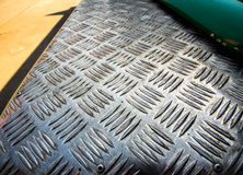 Tekstura metalu checker talerz Zdjęcia Stock