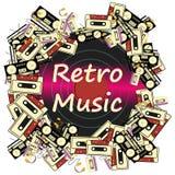 Tekstura obramia wpisową retro muzykę od elektronika urządzeń taśmy dźwiękowa pisaków audio kaset i winylu royalty ilustracja