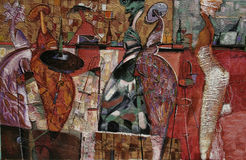 Tekstura obraz olejny, maluje autora Nogin serii ` kobiet ` s Romańską rozmowę ` Fotografia Stock