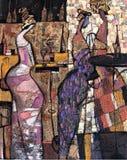 Tekstura obraz olejny pisze Romańskiego Nogin, serii ` kobiet ` s rozmowa `, autora ` s kolor wersja zdjęcia royalty free