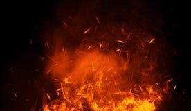 Tekstura oparzenie ogień z cząsteczek embers Płomienie na odosobnionym czarnym tle Tekstura dla sztandaru, ulotka, karta ilustracja wektor