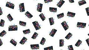 Tekstura rocznika bezszwowego deseniowego starego retro hipstersih taśmy dźwiękowa pisaka audio kaset 70 elegancki isometric muzy ilustracja wektor