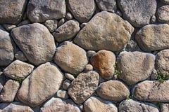 Tekstura stara brogująca kamienna ściana trawy wzdłuż skały fotografia royalty free