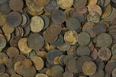 Tekstura stare i brudne sowieci monety w rozsypisku Obraz Stock