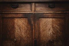 Tekstura stary drewniany meble Rocznik klatka piersiowa kreślarzi Zdjęcia Stock
