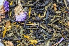 tekstura sucha czarna herbata z macierzanką kwitnie, zbliżenie składnika napoju abstrakcji ziołowy tło obraz royalty free