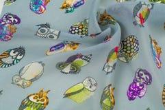 Tekstura, wzór płótno dla dziecko deseniowego jedwabiu Malować sowy, Zdjęcia Royalty Free