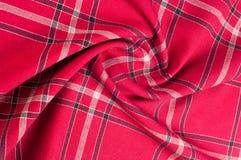 Tekstura, wzór Szkocki tartanu wzór Czerwona i czarna wełna p Zdjęcia Royalty Free