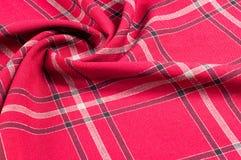 Tekstura, wzór Szkocki tartanu wzór Czerwona i czarna wełna p Obrazy Stock