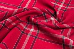 Tekstura, wzór Szkocki tartanu wzór Czerwona i czarna wełna p Fotografia Stock