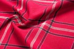 Tekstura, wzór Szkocki tartanu wzór Czerwona i czarna wełna p Zdjęcie Royalty Free