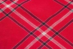 Tekstura, wzór Szkocki tartanu wzór Czerwona i czarna wełna p Obraz Royalty Free