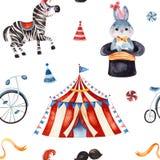 Tekstura z ślicznym małym królikiem w kapeluszu, zebra, cyrkowy namiot, faborek, rower royalty ilustracja