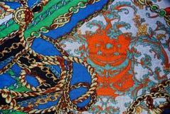 Tekstura z kolorowymi wzorzystymi tkaninami Obrazy Stock