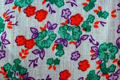 Tekstura z kolorowymi wzorzystymi tkaninami Zdjęcia Stock