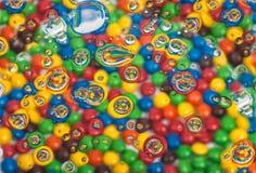 Tekstura z kolorów bąblami i piłkami Zdjęcia Royalty Free