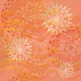 Tekstura z ornamentami w ciepłych kolorach Fotografia Royalty Free