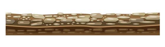 Tekstura ziemia, ziemia dla pozioma gra z skałami ilustracja wektor