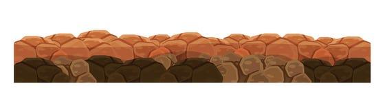 Tekstura ziemia, ziemia dla pozioma gra z skałami ilustracji