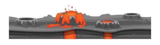 Tekstura ziemia, paląca ziemia z gejzerami, lawa royalty ilustracja
