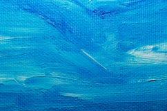 Tekstury błękitna nafciana farba na brezentowym makro- zbliżeniu obraz stock