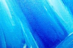 Tekstury błękitna nafciana farba na brezentowym makro- zbliżeniu fotografia royalty free