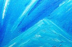 Tekstury błękitna nafciana farba na brezentowym makro- zbliżeniu obrazy stock
