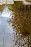 Tekstury tło tkanina Wiosna krajobraz, kałuża topi obrazy stock