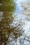 Tekstury tło tkanina Wiosna krajobraz, kałuża topi obraz stock
