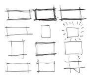 Tekstvakje en kaders Vastgestelde hand getrokken rechthoek, kunstillustratie st Stock Foto's