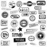 Tekstów partyjni muzyczni znaczki Zdjęcie Stock