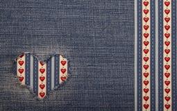 Tekstylna aplikacja dla walentynka dnia Obrazy Royalty Free