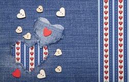 Tekstylna aplikacja dla walentynka dnia Obraz Stock