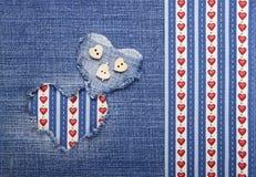 Tekstylna aplikacja dla walentynka dnia Zdjęcie Royalty Free