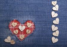Tekstylna aplikacja dla walentynka dnia Fotografia Stock
