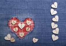 Tekstylna aplikacja dla walentynka dnia Obrazy Stock