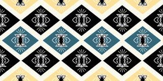 Tekstylny bezszwowy wzór z plemienna ręka rysującą afrykańskiego majowie motywu batika antycznego tła wektorową ilustracją gotową ilustracji