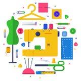Tekstylny projekta pojęcie ustawiający z szyć Fotografia Stock