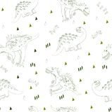 Tekstylny tło dla dziecko projekta lub mody również zwrócić corel ilustracji wektora Świat dinosaura bezszwowy wzór T royalty ilustracja