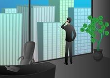 Teléfono acertado del hombre de negocios que habla en la oficina del rascacielos Fotografía de archivo libre de regalías