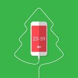 Teléfono, alambre, árbol de navidad, reloj Fotografía de archivo